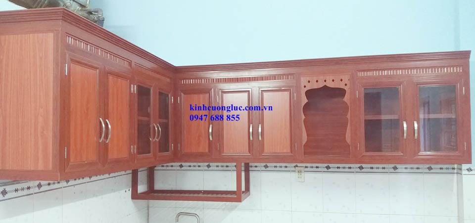 tủ bếp nhôm kính hiện đại hcm