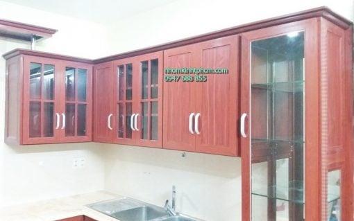 Tủ bếp nhôm kính giả gỗ tphcm