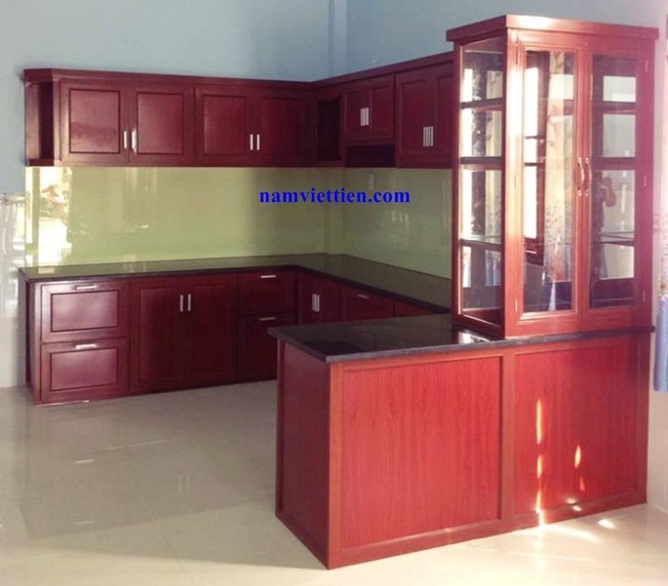 Tủ bếp nhôm vân gỗ