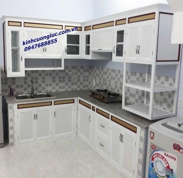 tủ bếp nhôm kính treo tường hà nội