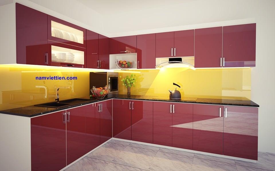Tủ bếp kính màu cường lực