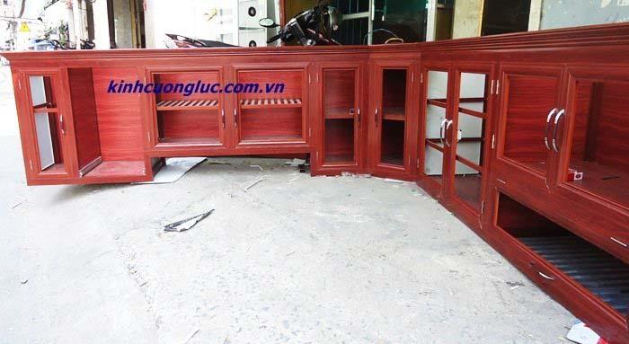 tủ nhôm kính giả gỗ treo tường hcm
