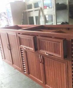 Tủ bếp nhôm kính giả gỗ đẹp giá rẻ tại biên hòa đồng nai