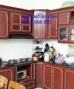 Tủ bếp nhôm kính vân gỗ cao cấp