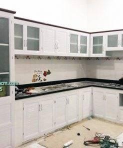 Tủ bếp nhôm kính sơn tĩnh điện giá rẻ HCM
