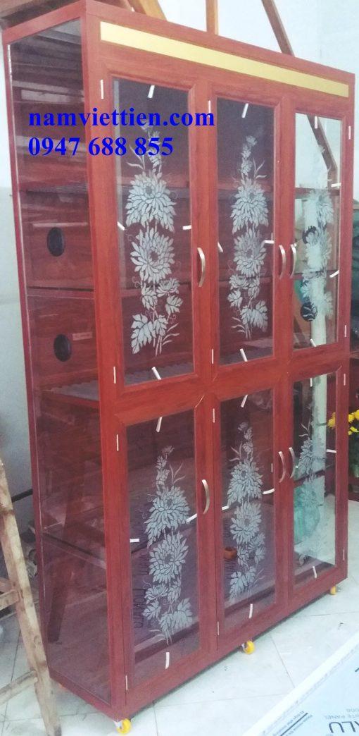 Tủ nhôm kính cao cấp vân gỗ
