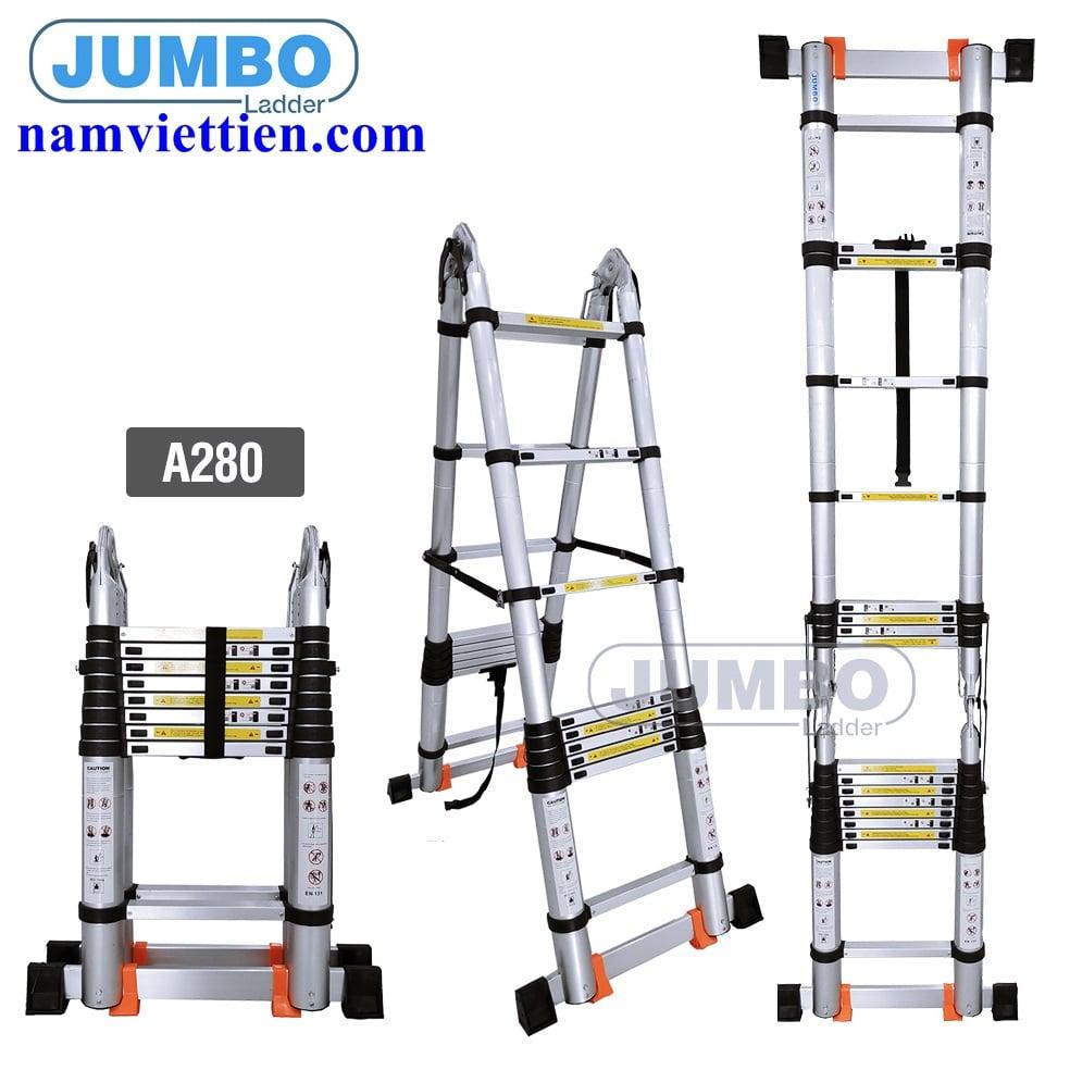 thang nhom cao cap jumbo gia re - Thang nhôm rút điện lực Jumbo[4,4M]