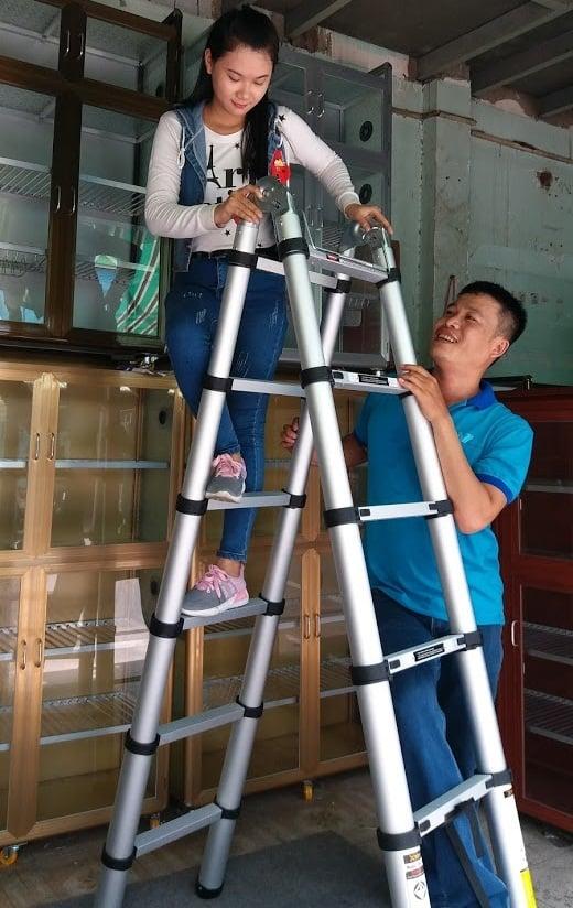Thang nhôm rút gọn NIkita AL32 cao 3m2 giá rẻ