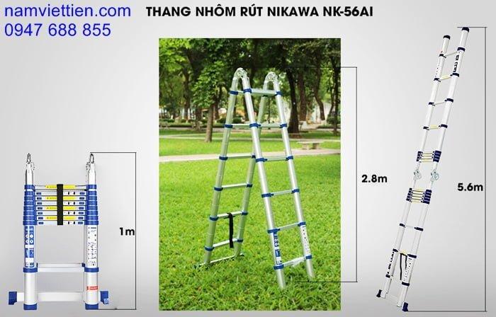thang nhom rut gon thong minh gia re hcm - Thang nhôm rút đôi Nikawa NK-56AI[5,6M]