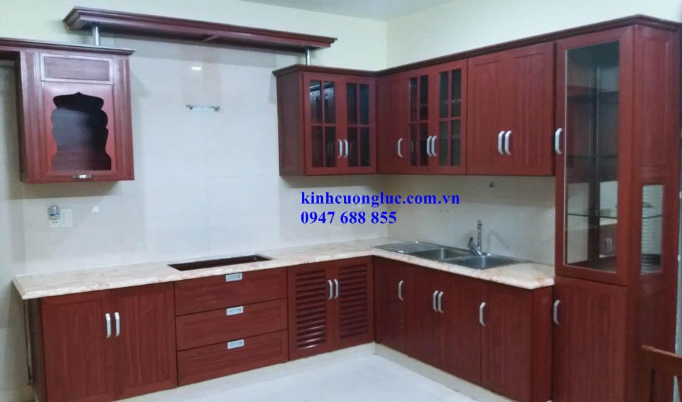5 - Tủ bếp nhôm kính sơn tĩnh điện