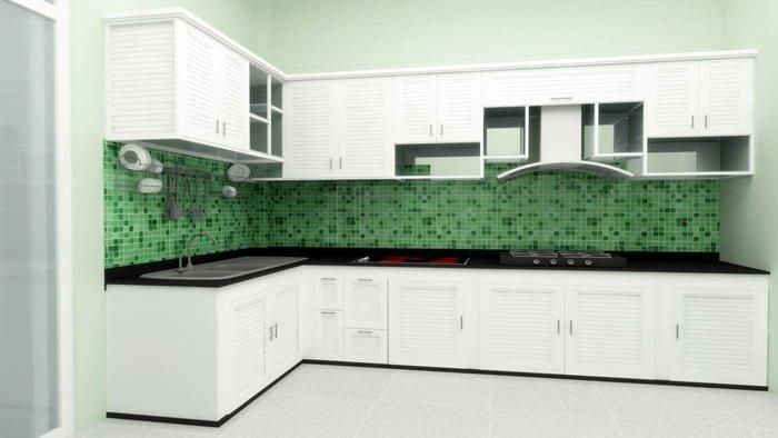 Tủ bếp nhôm kính sơn tĩnh điện cao cấp