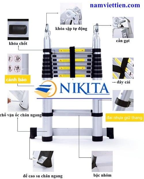 nikita 4 - Tóp 5 loại thang nhôm tốt nhất Nikita NKT AID72[7,2M]