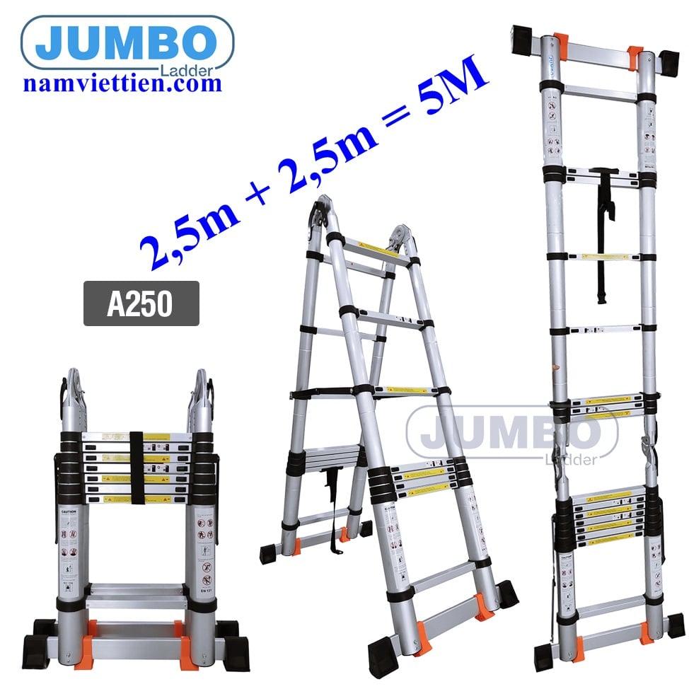 thang nhom cao cap jumbo chu a - Thang nhôm rút đa năng Jumbo A250(5M)