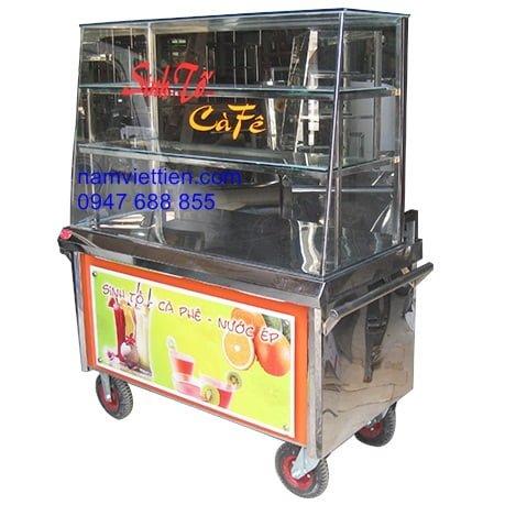 tu ban cafe sinh to - Xe đẩy bán cơm giá rẻ bằng Inox giá rẻ
