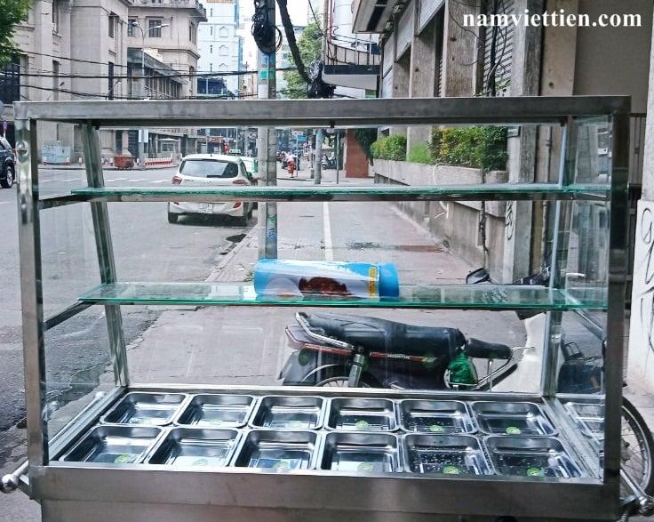 xe ban pho bang inox - Xe đẩy bán cơm giá rẻ bằng Inox 304