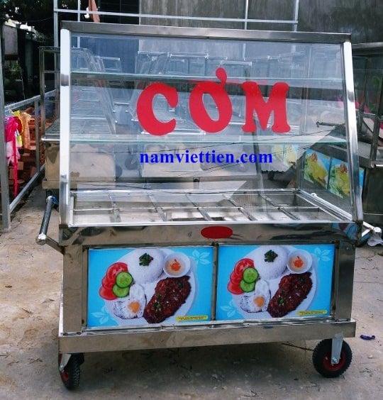 Xe đẩy bán cơm giá rẻ bằng Inox