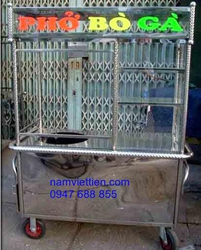 xe day ban pho hu tieu - Cửa hàng xe bán phở làm bằng inox