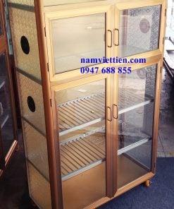 mẫu tủ bếp nhôm kính vân gỗ