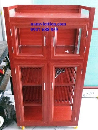 20181001 093806 1 - Tủ chén nhôm kính giả gỗ mẫu cao cấp