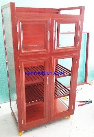 Tủ chén nhôm kính giả gỗ