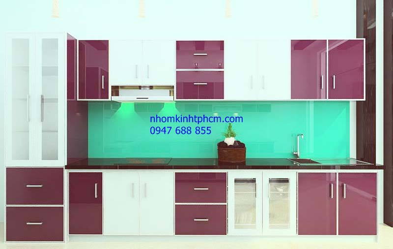 mẫu tủ bếp nhôm kính cao cấp hcm