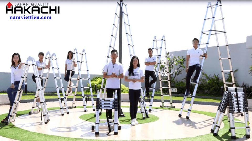 thang nhom rut cao cap hakachi - Thang nhôm rút đôi Hakachi HM24[7,2M]